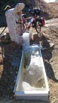 Definitely cold! Frozen fountain.