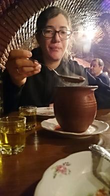 Tucking into Lobio and chacha