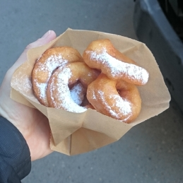 Guilty breakfast pleasure on regular mornings, fresh doughnuts for about 4 euro cents each
