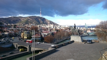 Arriving in Tbilisi under wintry skies