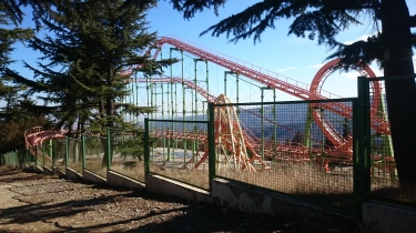 Roller coaster with a view up in Mtatsminda Park, Tbilisi