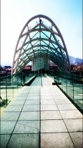 the contrasting modarn architecture of the Peace Bridge