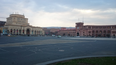 A deserted Republic Square in early morning Yerevan.
