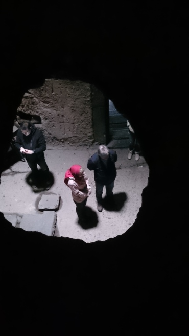 Inside a spy hole in the floor at geghard monastery