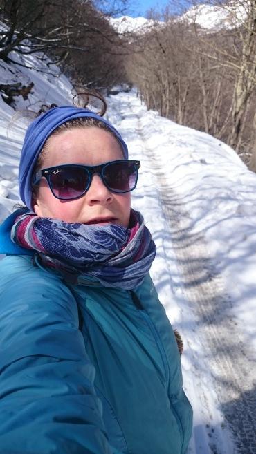 Climbing the snowy track up from Kazbegi