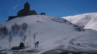 Approaching Gergeti Trinity Church