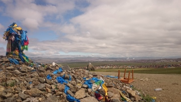 An ovoo overlooking the outskirts of Ulaanbataar