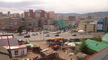A rooftop view out of a ger district in Ulaanbataar