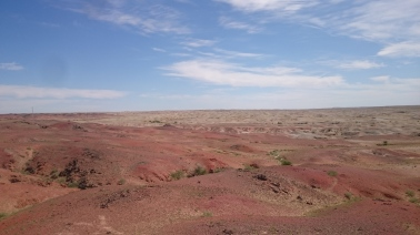 The endless red rocks and blue skies around Shambala. Sadly no track back to the border road though