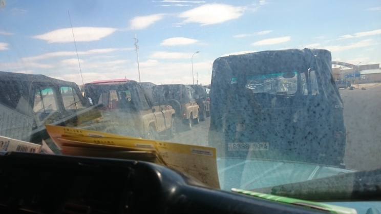 Bumper jeeps queued/crashed at the border crossing